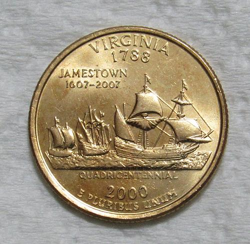 2000-D 25 Cents - Virginia State Quarter - Gold Layered