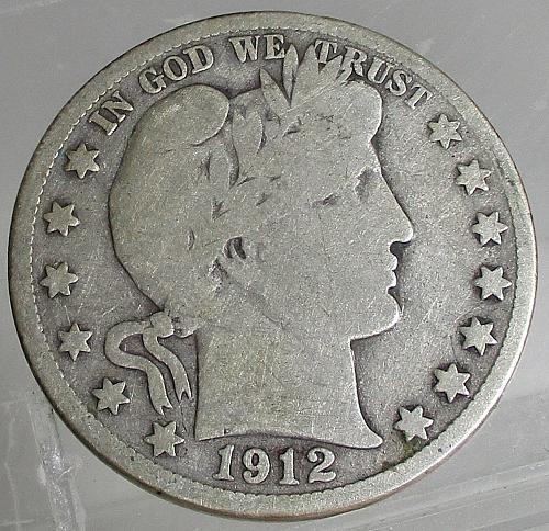1912-S BARBER HALF DOLLAR