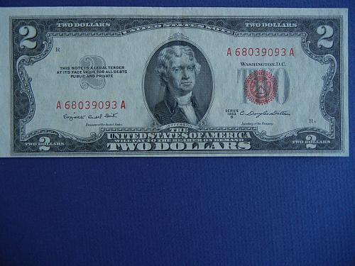 1953-B RED SEAL US NOTE-STRONG CONDITION FREE SHIP  #9913