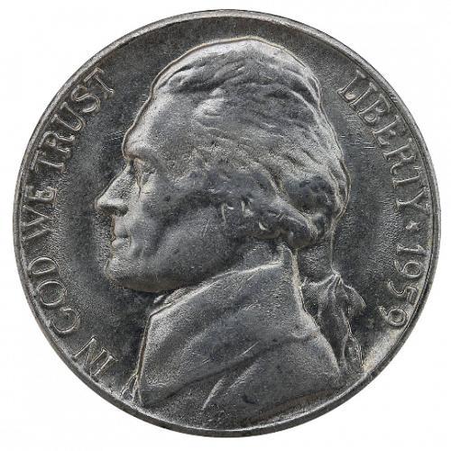 1959-D Jefferson Nickel, Gem BU