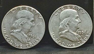 1958-D and 1961-P Circulated, Franklin Half Dollars.