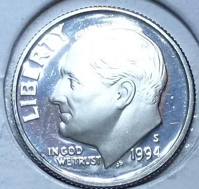 1994-S GEM Brilliant Silver Proof Roosevelt Dime (911-C)