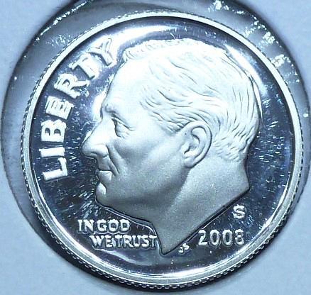 2008-S GEM Brilliant Silver Proof Roosevelt Dime (911-O)
