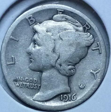 1916-S Mercury Dime  Grades Fine ( 151)
