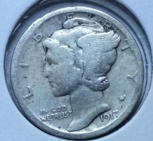 1917-S Mercury Dime  Grades Very Good ( 156)
