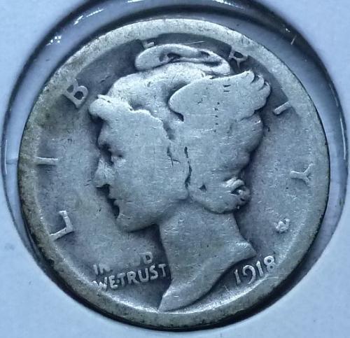 1918-S Mercury Dime  Grades Good ( 161)