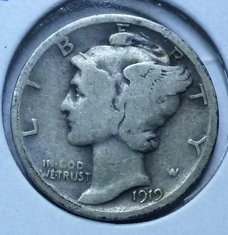 1919-P Mercury Dime  Grades Fine ( 162)