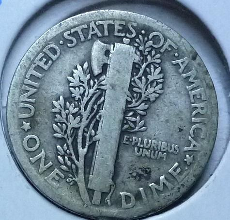 1919-P Mercury Dime  Grades Fine ( 163)