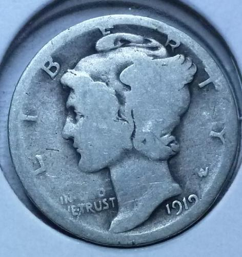 1919-D Mercury Dime  Grades Good ( 165)