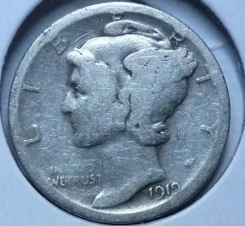 1919-S Mercury Dime  Grades Very Good ( 166)