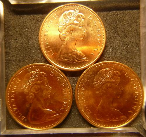 CANADA 1967 (3) ONE CENT COMMEMORATIVE COINS SET C