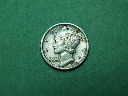 1919 P Mercury Dime XF Coin   t90