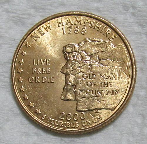 2000-P 25 Cents - New Hampshire State Quarter - Gold Layered