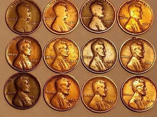 1937 P Bundle of 12 - 1916, 17, 23, 28, 37, 38, 39, 40, 40 S, 41, 41 D, & 1942