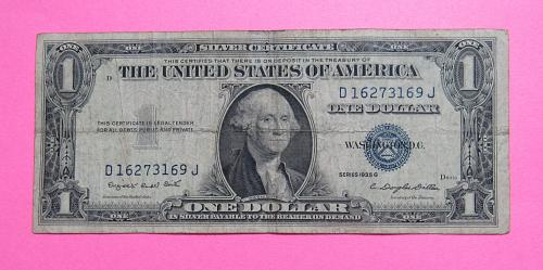 1935-G $1 US Banknote - Silver Certificate - Blue Seal