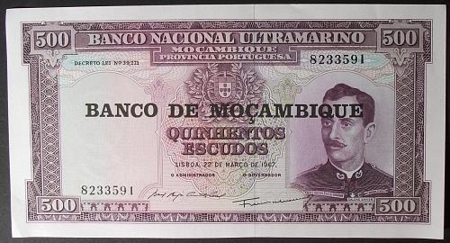 Mozambique P118a 500 Escudos XF+