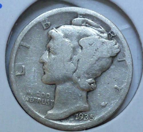 1935-S VERY GOOD  Mercury Dime  VG ( 504 )