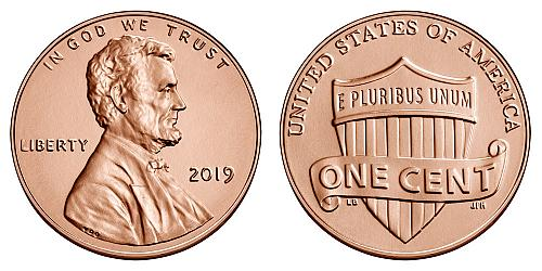 One 2019 p Lincoln shield penny BU uncirculated