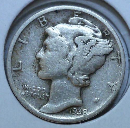 1938-P VERY FINE  Mercury Dime  VF ( 511 )