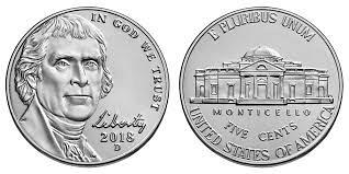 One 2018 d Jefferson nickel BU uncirculated