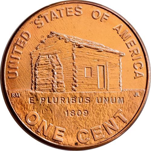 One 2009 p penny Lincoln memorial Log Cabin LP1 BU uncirculated
