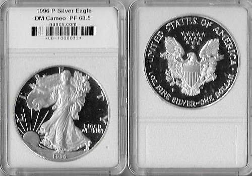 1996 P American Silver Eagle Proof NANCS PF 68.5 DM CAMEO