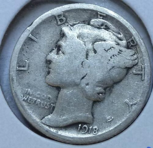 1918-S FINE Mercury Dime F ( 541 )