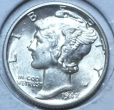 1942-d Uncirculated with FSP Mercury Dime Unc ( 553 )