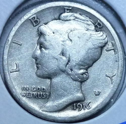 1916-P Fine Mercury Dime   ( 557 )