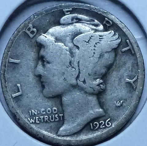 1926-S Fine Mercury Dime   ( 595)