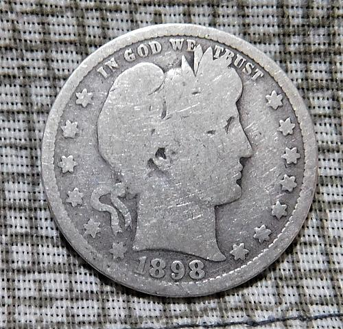 1898 P Barber Quarter Dollar,