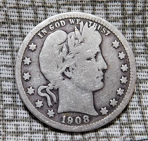 1908 D Barber Quarter Dollar,
