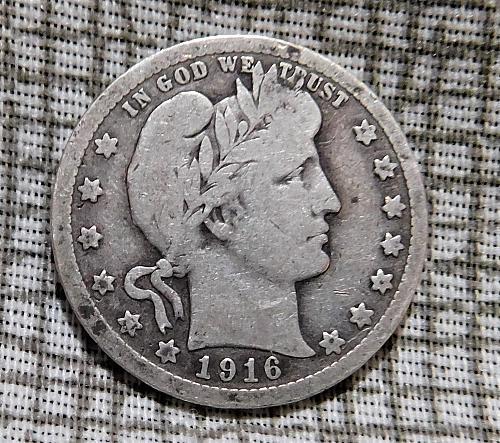 1916 P Barber Quarter Dollar,