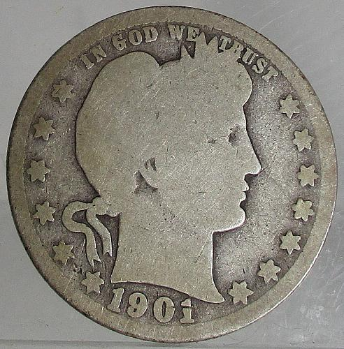 1901 P Barber Quarter