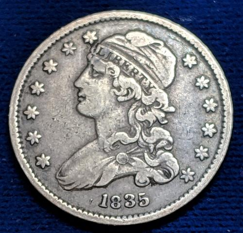 1835 CAPPED BUST QUARTER VERY FINE+++