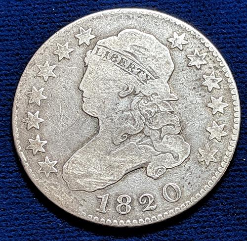 1820 LARGE (0) VERY GOOD CAPPED BUST QUARTER