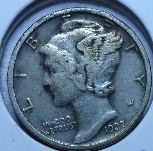 1927-P VERY FINE Mercury Dime VF ( 593 )
