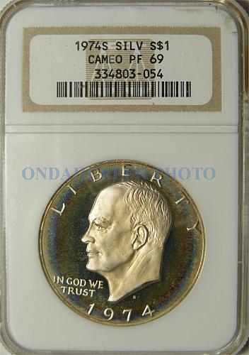 1974-S Silver Ike Dollar Beautifully Toned NGC CAMEO PF-69