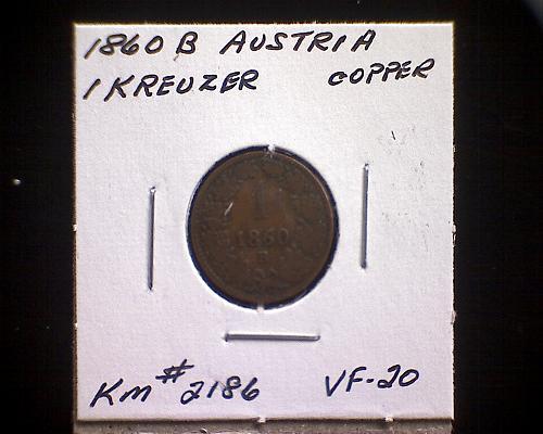1860B  AUSTRIA ONE KREUZER