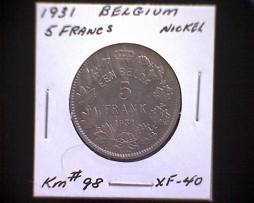 1931 BELGIUM  FIVE FRANCS