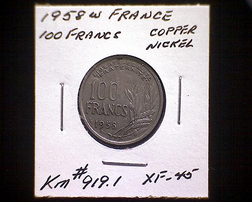 1958 W FRANCE ONE HUNDRED FRANCS