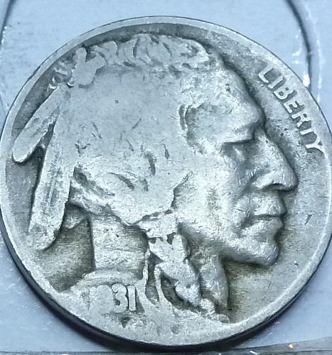 1931-S Grades Very Good Buffalo Nickel Coin ( 401)