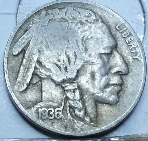 1936-D Grades VERY FINE Buffalo Nickel Coin ( 412)