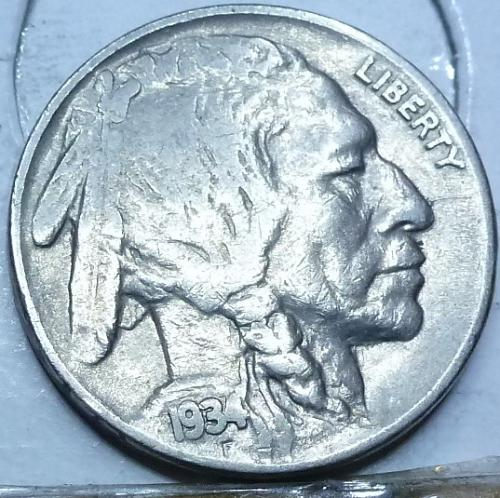 1934-P Grades VERY FINE Buffalo Nickel Coin ( 406)