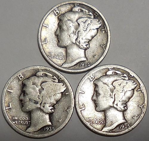 Three Mercury Dimes 1935-P 1935-D & 1935-S