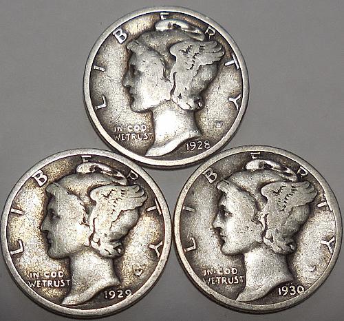 Three Mercury dimes 1928 1929 & 1930