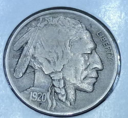 1920-D Grades EXTRA FINE Buffalo Nickel Coin ( 1950)