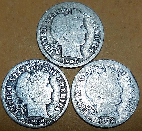 Three Barber Dimes 1906-P 1908-D & 1912-D