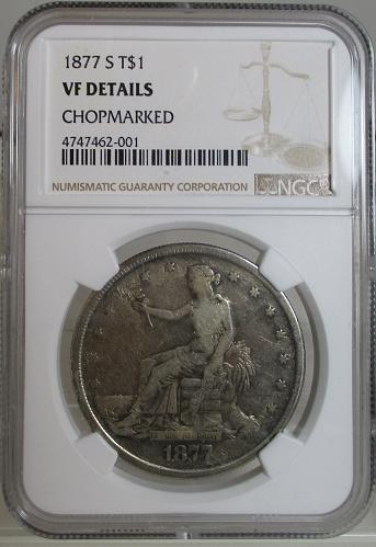 1877-S TRADE DOLLAR, SEE THE CHOPMARKED, MEANS BEEN TO ASIA & RETURNED