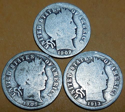Three Barber Dimes 1902-P 1907-P & 1913-P